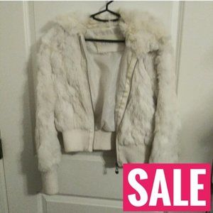 SALE snow bunny Off white faux fur jacket
